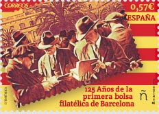 2016 Spanish commemorative stamp celebrating 125 years since the first stamp market. • Credit: Spanish Correos
